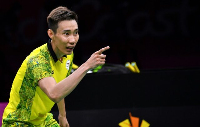 Malaysia's Chong Wei Lee celebrates his victory over India's Srikanth Kidambi in their badminton men's final at the 2018 Gold Coast Commonwealth Games
