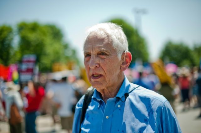 A picture dating from 2013 of Pentagon Papers whistleblower Daniel Ellsberg at a demonstration at Fort Meade in Maryland.