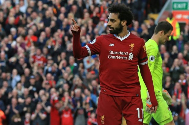 Salah scored his 40th goal of the season, 30 of which have come in the Premier League.