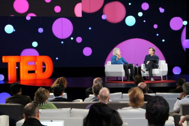 Author and cognitive science professor Steven Pinker (L), speaking with TED Conference curator Chris Anderson, told the big-ideas conference that technology has made the world better despite growing gloom