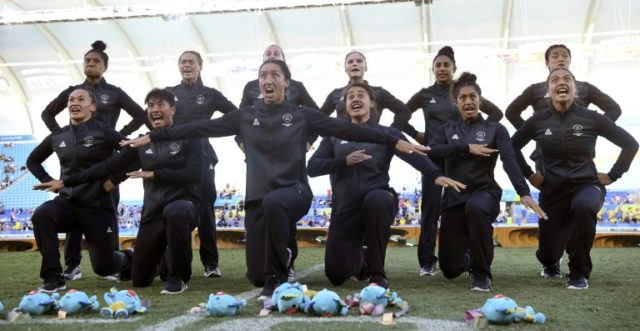 New Zealand celebrate after winning the gold medal in the women's rugby sevens