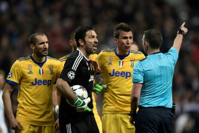 A furious Gianluigi Buffon was sent off for vehemently protesting the decision to award Real Madrid a late penalty in their Champions League tie
