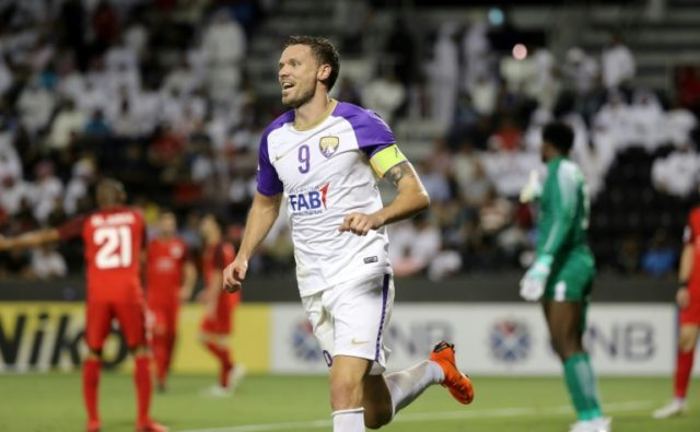 Al Ain FC's forward and captain Marcus Berg celebrates after scoring a goal against Al-Rayyan