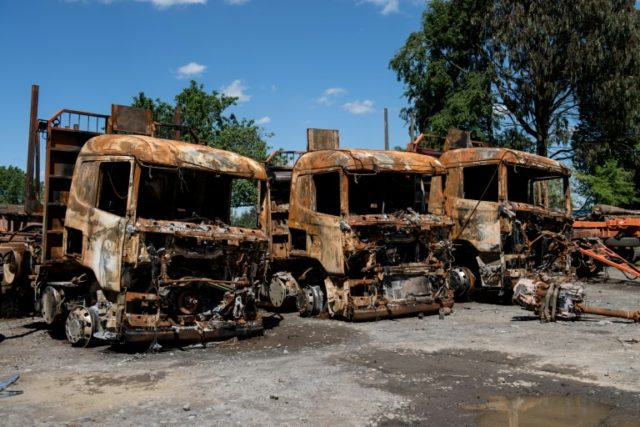 Trucks burned in another attack in southern Chile in November 2017 as part of an ongoing campaign of protest by Chile's Mapuche Indians demanding the return of ancestral lands