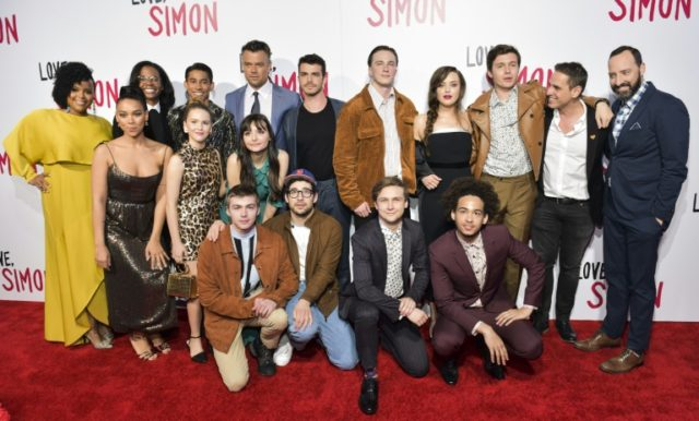 """The cast of """"Love, Simon"""" attend a special screening at Westfield Century City on March 13, 2018 in Los Angeles, California"""