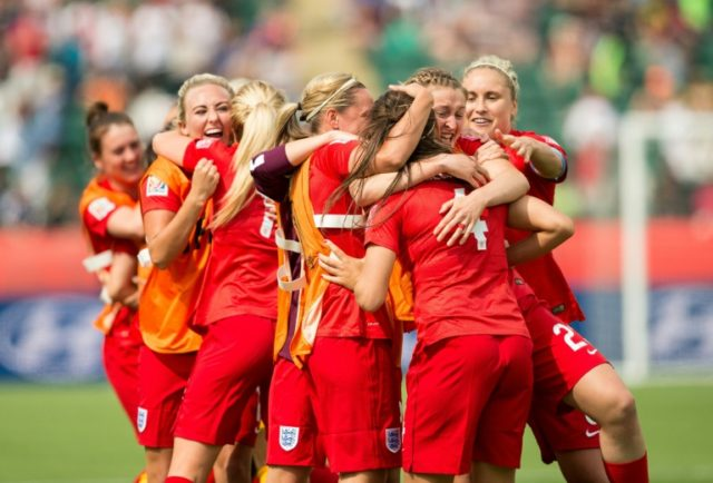 England celebrate a goal in their bronze medal match against Germany at the 2015 FIFA Women's World Cup