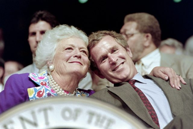 Former first lady Barbara Bush (with her son George W. Bush in 1992) has died at the age of 92