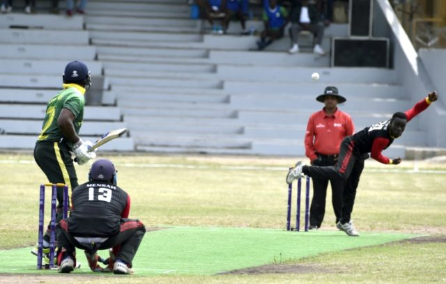 Different strokes: Nigerian batsman Dotun Olatunji faces a delivery from Ghanaian bowler Michael Aboagye during the International Cricket Council (ICC) World Twenty20 qualification match in Lagos