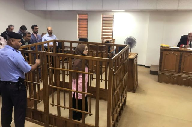 French national Djamila Boutoutaou stands trial in a Baghdad court on April 17, 2018