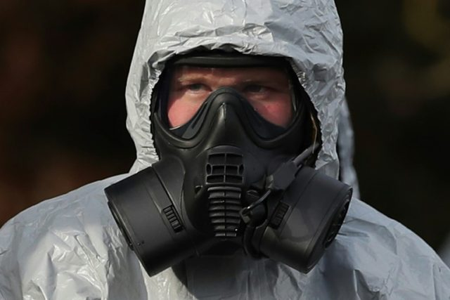 A meticulous clean-up has now begun in Salisbury after the poisoning of a former Russian spy. Emergency services workers, seen here in March, have sometimes had to wear protective clothing and breathing equipment