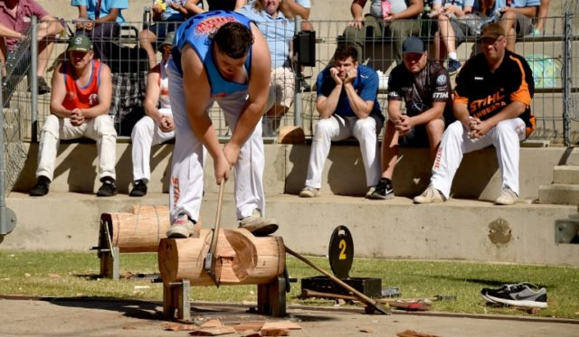 Curtis Bennett, 18, participates in a wood-chopping competition in Sydney, continuing a tradition rooted in the European settlement of Australia some two centuries ago