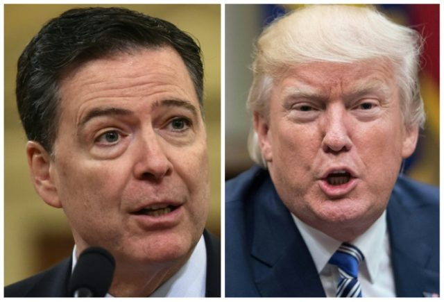 Former FBI director James Comey (L)and President Donald Trump: Trump denies firing Comey over the Russia collusion investigation