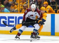 Nathan MacKinnon #29 of the Colorado Avalanche seen here during game two of a Stanley Cup playoff series against Nashville Predators; MacKinnon scored twice in game three