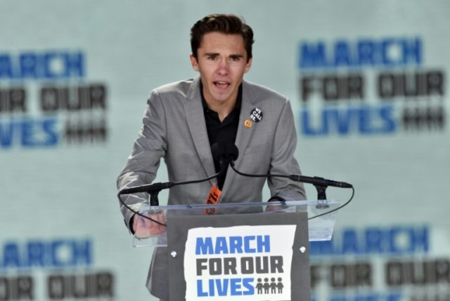 Marjory Stoneman Douglas High School student David Hogg speaks during the March for Our Lives Rally in Washington, DC on March 24, 2018