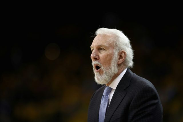 Head coach Gregg Popovich of the San Antonio Spurs shouts to his team during their game against the Golden State Warriors in Game 2 of Round 1 of the 2018 NBA Playoffs at ORACLE Arena on April 16, 2018 in Oakland, California