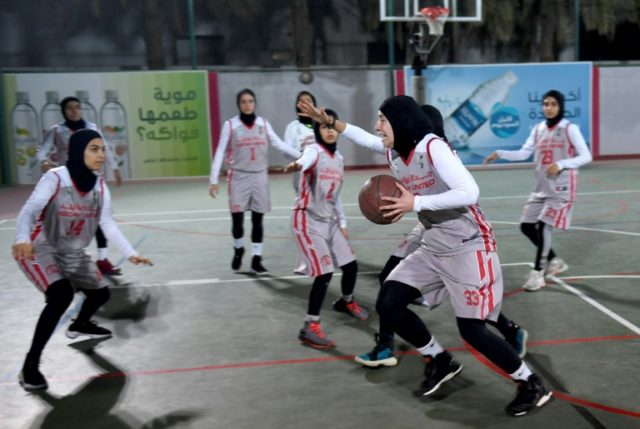 Players from Jeddah United, Saudi Arabia's first women's basketball team train at their club in the coastal city of Jeddah on February 18, 2018