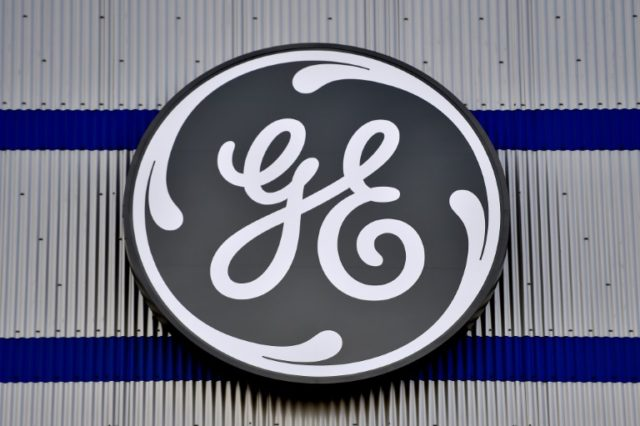 The logo of US company General Electric is seen at a factory of the group in Montoir-de-Bretagne, western France
