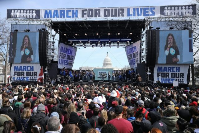 Survivors of a school shooting in Florida organized the March for Our Lives rally against gun violence, in Washington in March, 2018