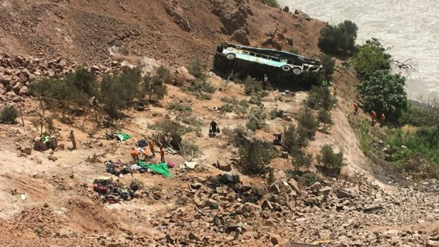 A total of 45 people were killed when a bus plunged into a ravine in southern Peru on February 21, 2018