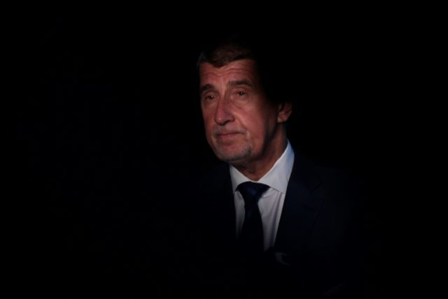 Czech Prime minister Andrej Babis talks to the media after a meeting with Czech president Milos Zeman (unseen) on April 10, 2018, at Lany Castle, west of Prague