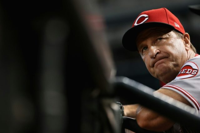 Bench coach Jim Riggleman of the Cincinnati Reds watches from the dugout during the third inning of the MLB game against the Arizona Diamondbacks at Chase Field on July 9, 2017 in Phoenix, Arizona