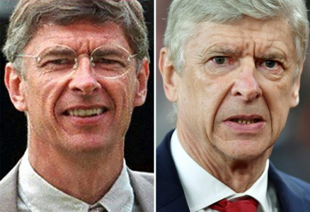 Arsenal manager Arsene Wenger pictured in 1997 (left) and 2018