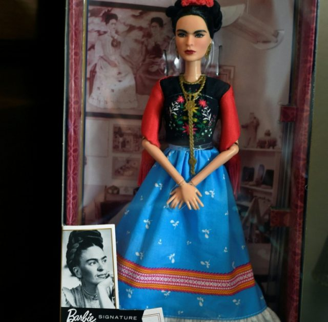 Barbie doll depicting late Mexican artist Frida Kahlo, is exhibited -alongside other commercial products- at her sister's house in the neighborhood of Coyoacan, Mexico City,on April 19, 2018