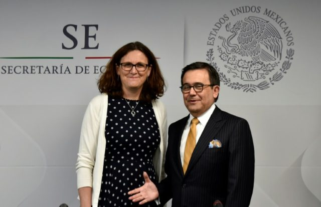 "The EU and Mexico released a statement, about an ""agreement in principle"" over trade, from EU Trade Commissioner Cecilia Malmstrom (L), Mexico Economy Minister Ildefonso Guajardo Villarreal (R) (seen in 2017) and EU Agricultural Minister Phil Hogan"