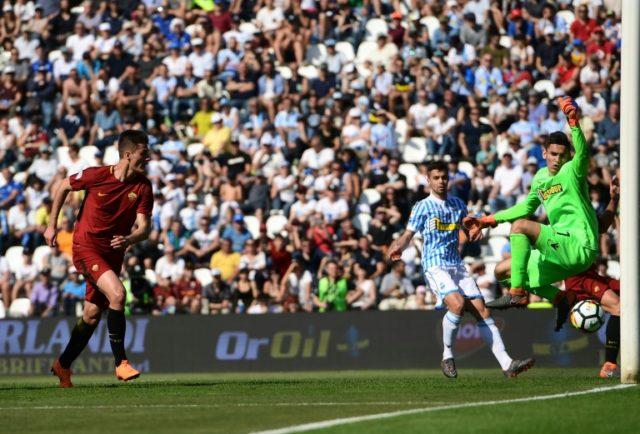 On target: Roma's Czech forward Patrik Schick scores the third goal