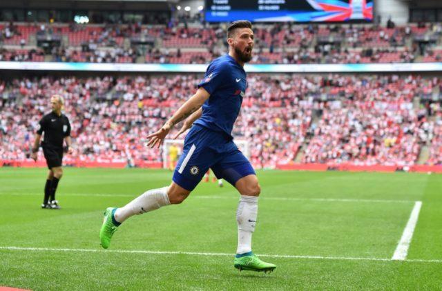 Chelsea's striker Olivier Giroud celebrates scoring against Southampton at Wembley Stadium in London, on April 22, 2018