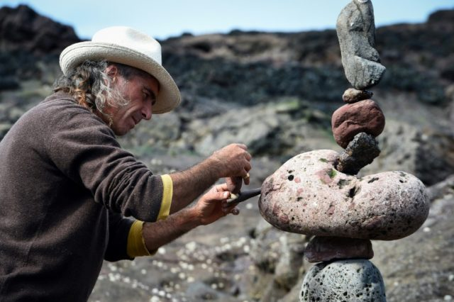 Marco Montesini from Spain competes in the European Stone Stacking Championships 2018 in Dunbar, Scotland, which attracted more than 30 international participants