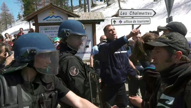 Pro-migrant groups scuffled with French law enforcement officials in the alpine standoff