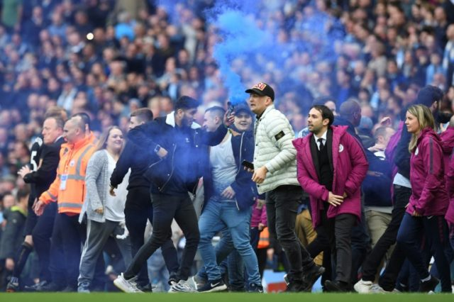 City's thumping victory was soured by the sight of fans invading the pitch at full-time.