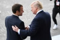 """US President Donald Trump, right, and France's Emmanuel Macron talk regularly, have shared memorable handshakes and claim an """"unbreakable"""" friendship"""