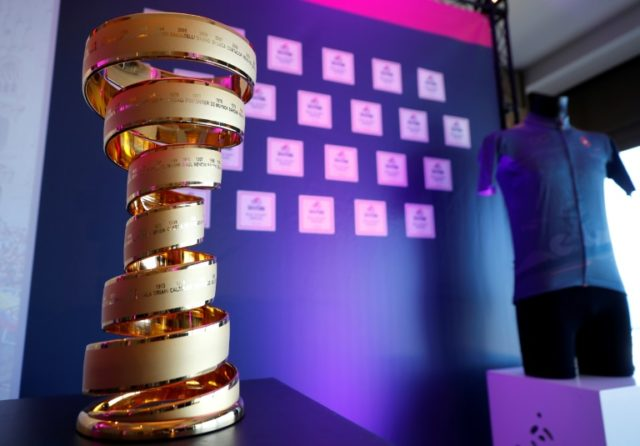 The Giro d'Italia trophy is displayed during a press conference in the Israeli Mediterranean coastal city of Tel Aviv on April 22, 2018