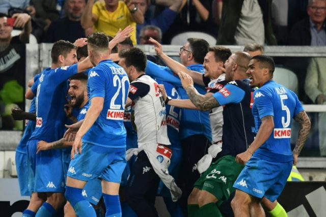 Goal star: Napoli's French defender Kalidou Koulibaly celebrates with teammates