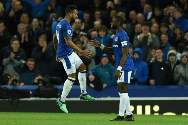 Theo Walcott (L) celebrates after scoring Everton's winner against Newcastle