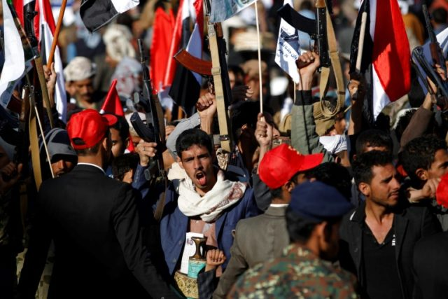 Supporters of Yemen's Huthi rebels attend a rally to mark three years of war in the country, in the capital Sanaa on March 26, 2018