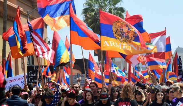 Armenian-Americans march in protest through the Little Armenia neighborhood of Hollywood, California