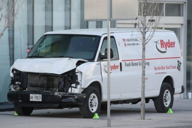 The van used in Monday's deadly incident in Toronto, its front end severely damaged