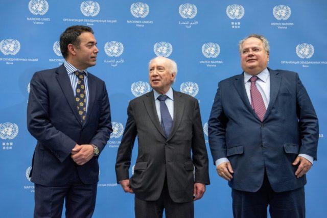 Macedonian Foreign Minister Nikola Dimitrov, United Nations mediator Matthew Nimetz and Greek Foreign Minister Nikos Kotzias met to discuss the simmering issue of Macedonia's name