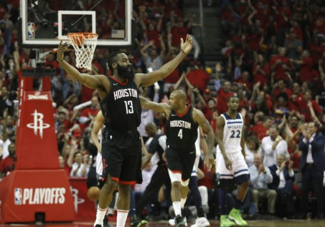 James Harden scored 24 points as the Houston Rockets booked their spot in the second round of the NBA playoffs by crushing the Minnesota Timberwolves 122-104 in game five