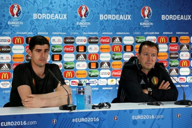 Courtois (L) and Wilmots together at a Belgian team press conference during Euro 2016