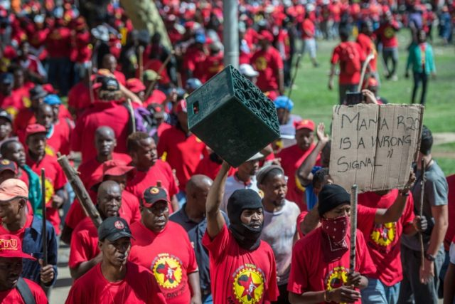 Demonstrators in Johannesburg criticised the proposed minimum wage of the equivalent of $1.60 as too low