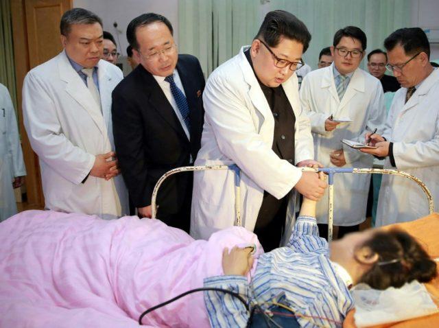 North Korea's KCNA news agency ran photos of Kim visiting survivors of the crash earlier this week