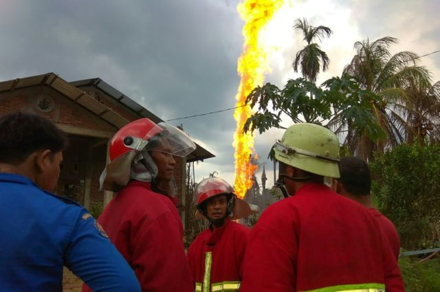 The explosion caused a tower of flames in Indonesia's Aceh province that burned for hours