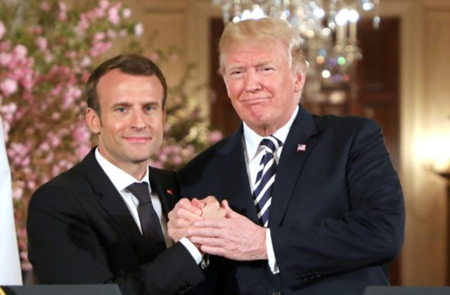 """French President Emmanuel Macron and US President Donald Trump called for a """"new"""" deal on Iran -- and emphasized their unlikely friendship -- during the state visit"""