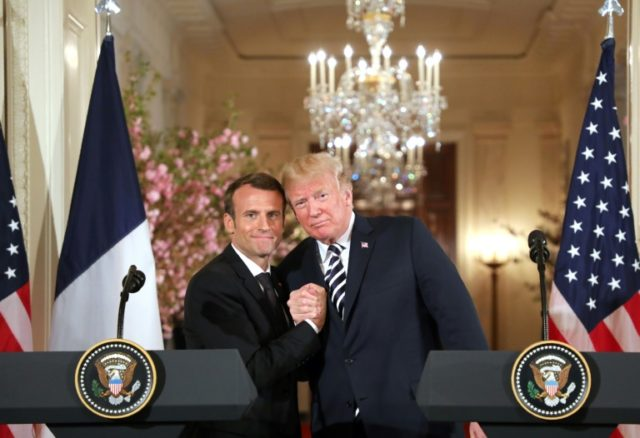US President Donald Trump and French President Emmanuel Macron hold a joint press conference