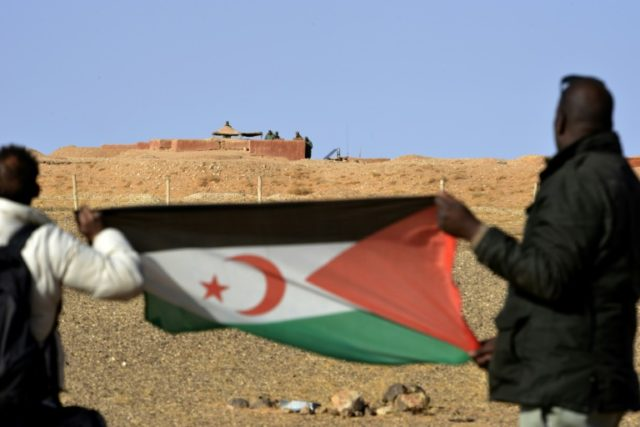 Morocco and the Polisario Front, whose flag is seen here, fought for control of Western Sahara from 1975 to 1991, when a ceasefire was reached and the UN MINURSO mission was deployed to monitor the truce