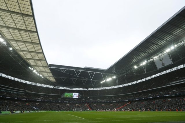 Wembley Stadium in northwest London pictured during the English Premier League football match between Tottenham Hotspur and Arsenal on February 10, 2018